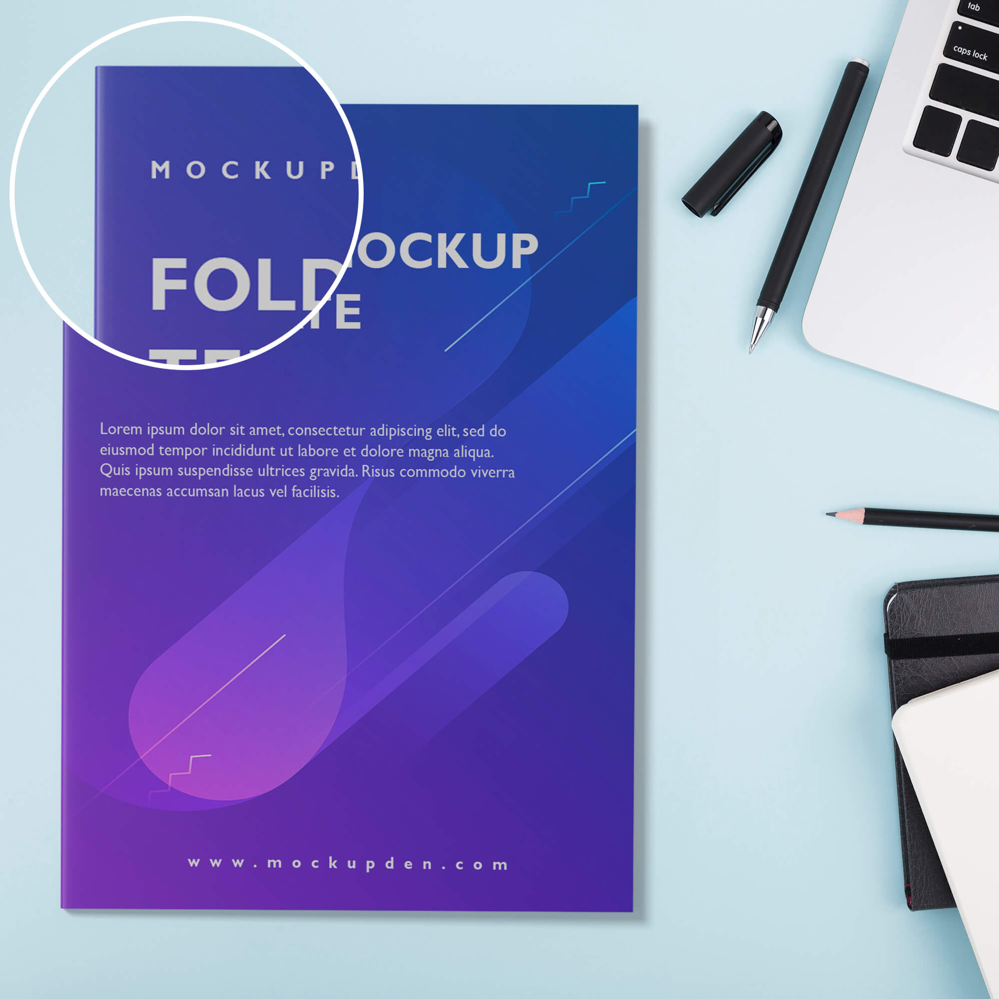 Close UP Of a Free Folder Mockup Template PSD Template