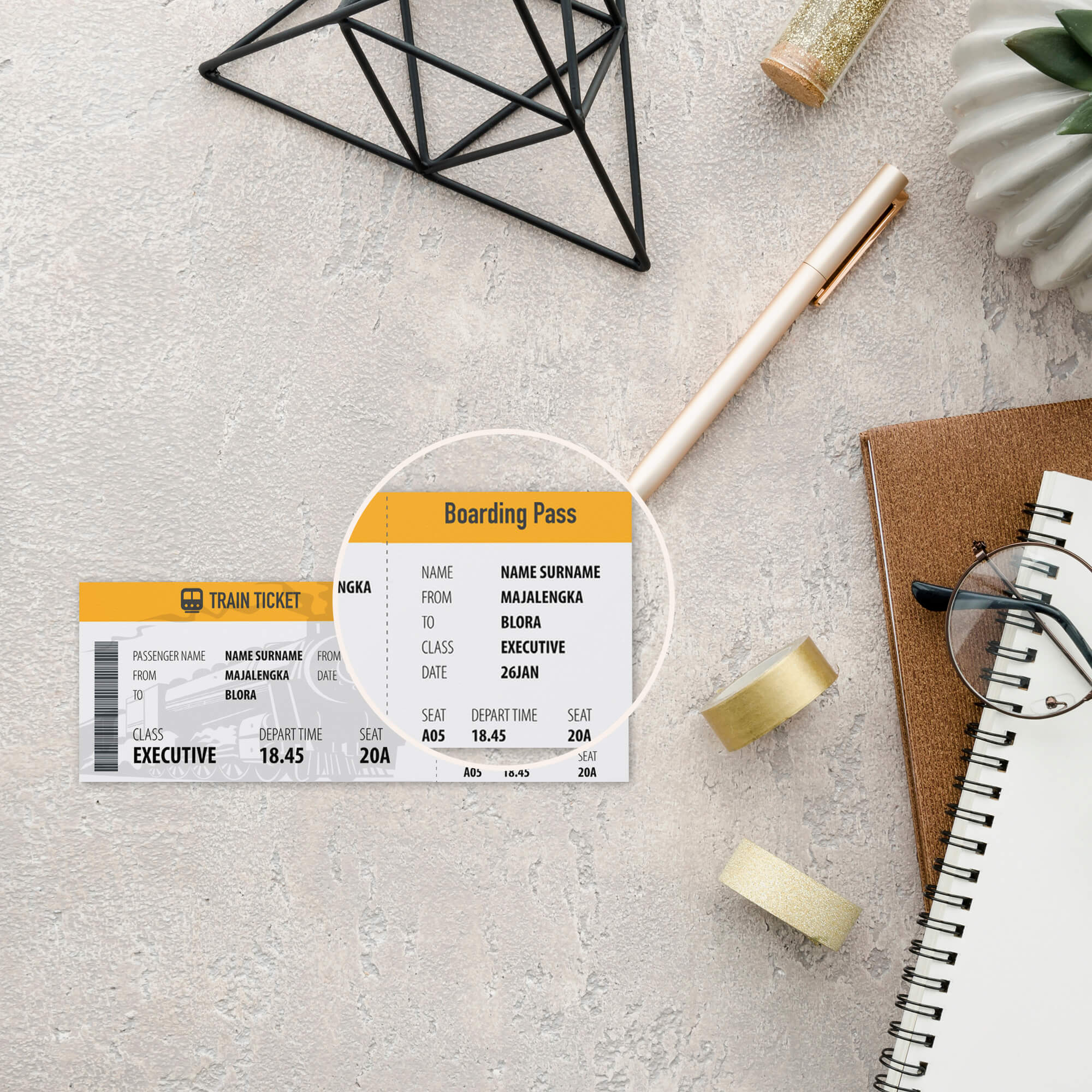Close UP Of a Free Train Tickets Mockup PSD Template