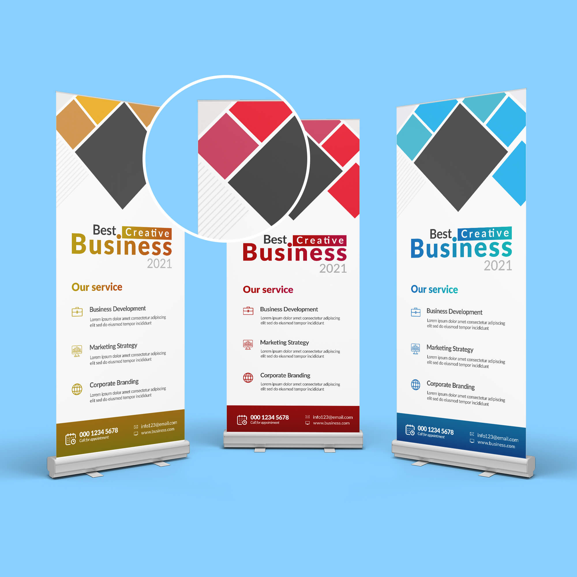 Close Up Of a Free 3 Roll Up Banner Mockup PSD Template