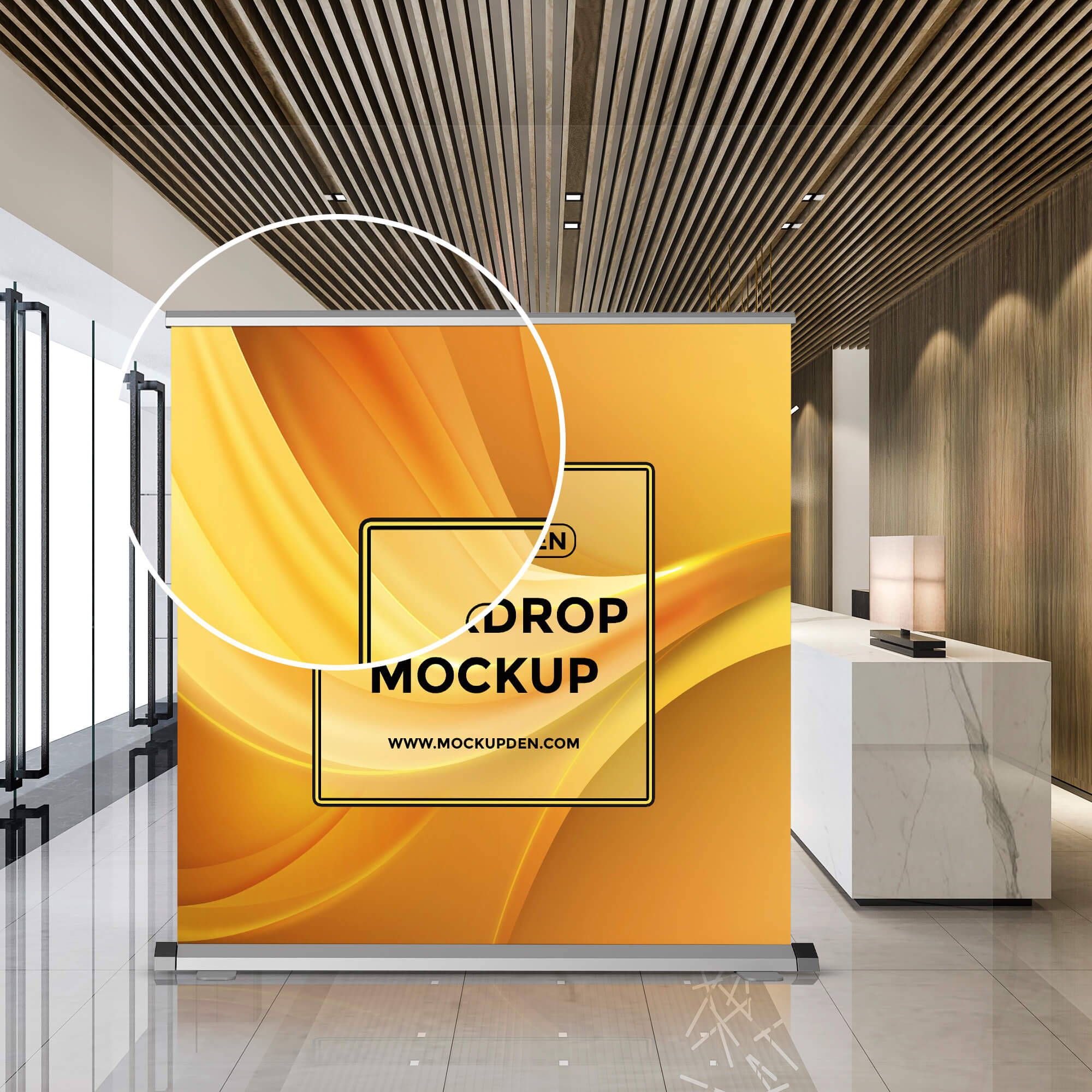 Close Up Of a Free Backdrop Mockup PSD Template
