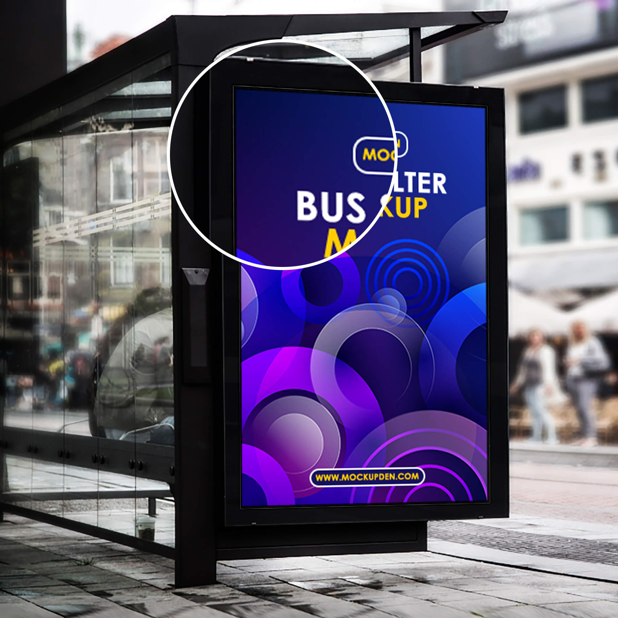 Close Up Of a Free Bus Shelter Mockup PSD Template