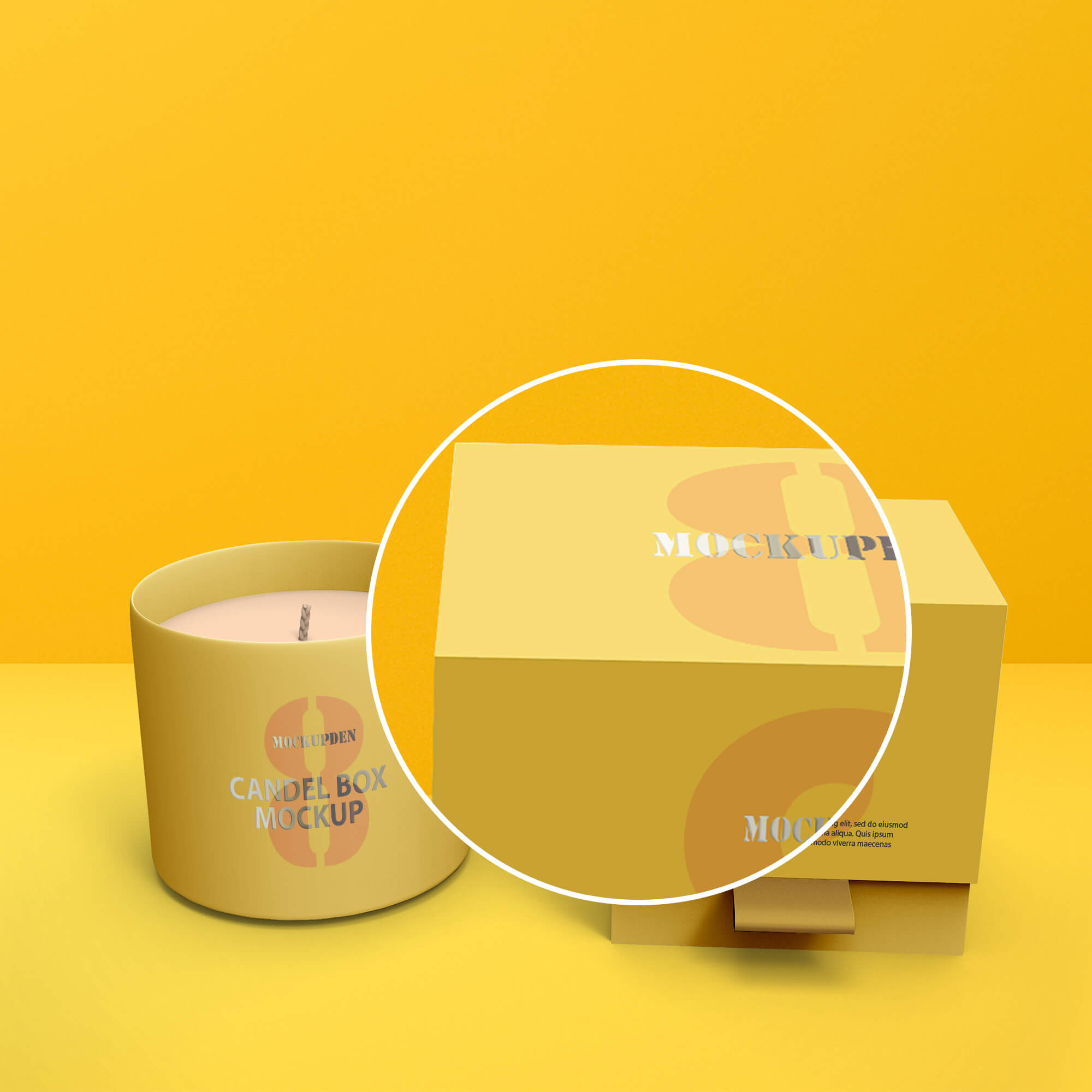 Close Up Of a Free Candle Box Mockup PSD Template