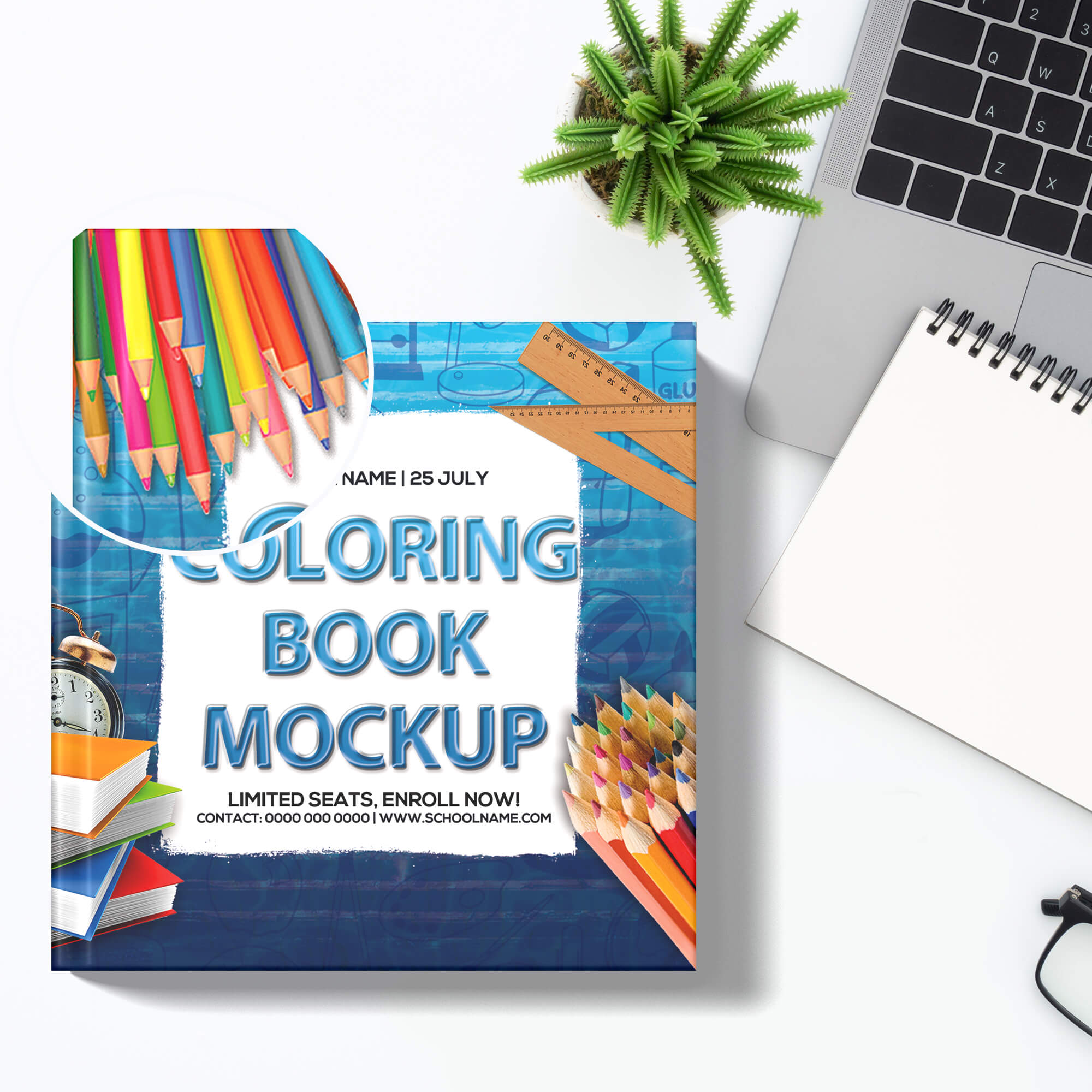 Close Up Of a Free Coloring Book Mockup PSD Template