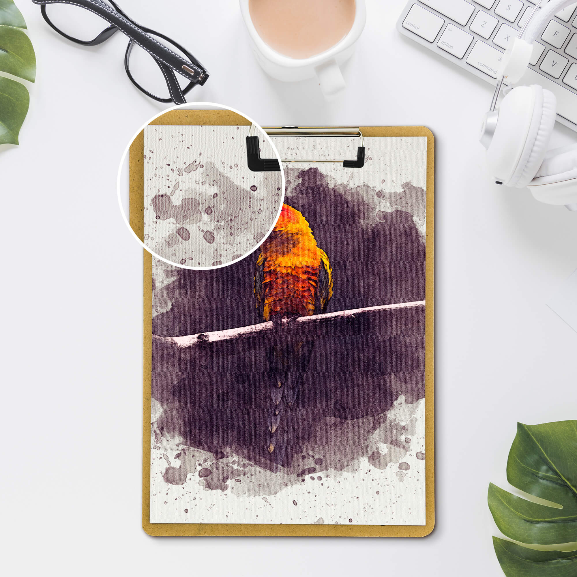 Close Up Of a Free Drawing Mockup PSD Template