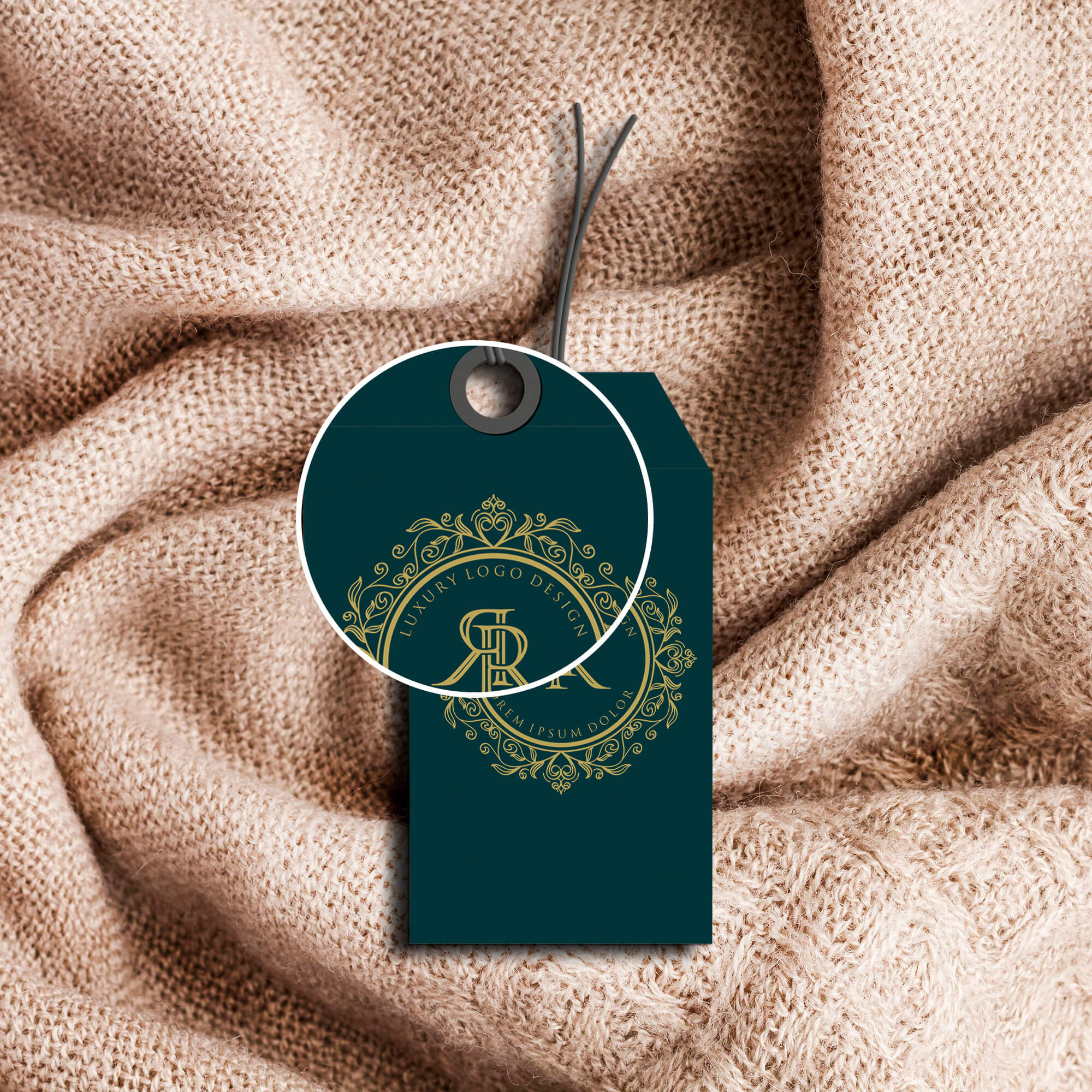 Close Up Of a Free Fashion Label Mockup PSD Template