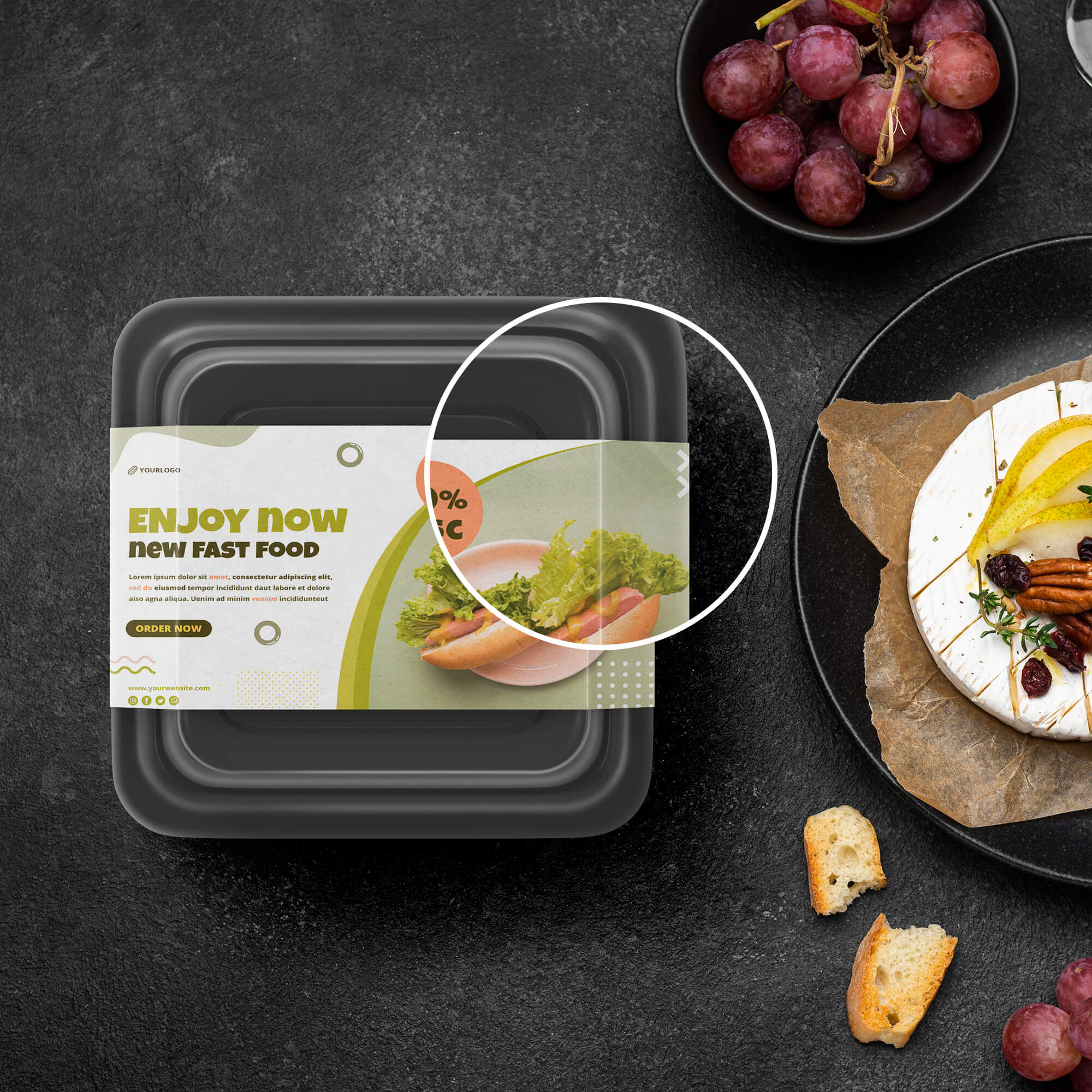 Close Up Of a Free Food Container Mockup PSD Template