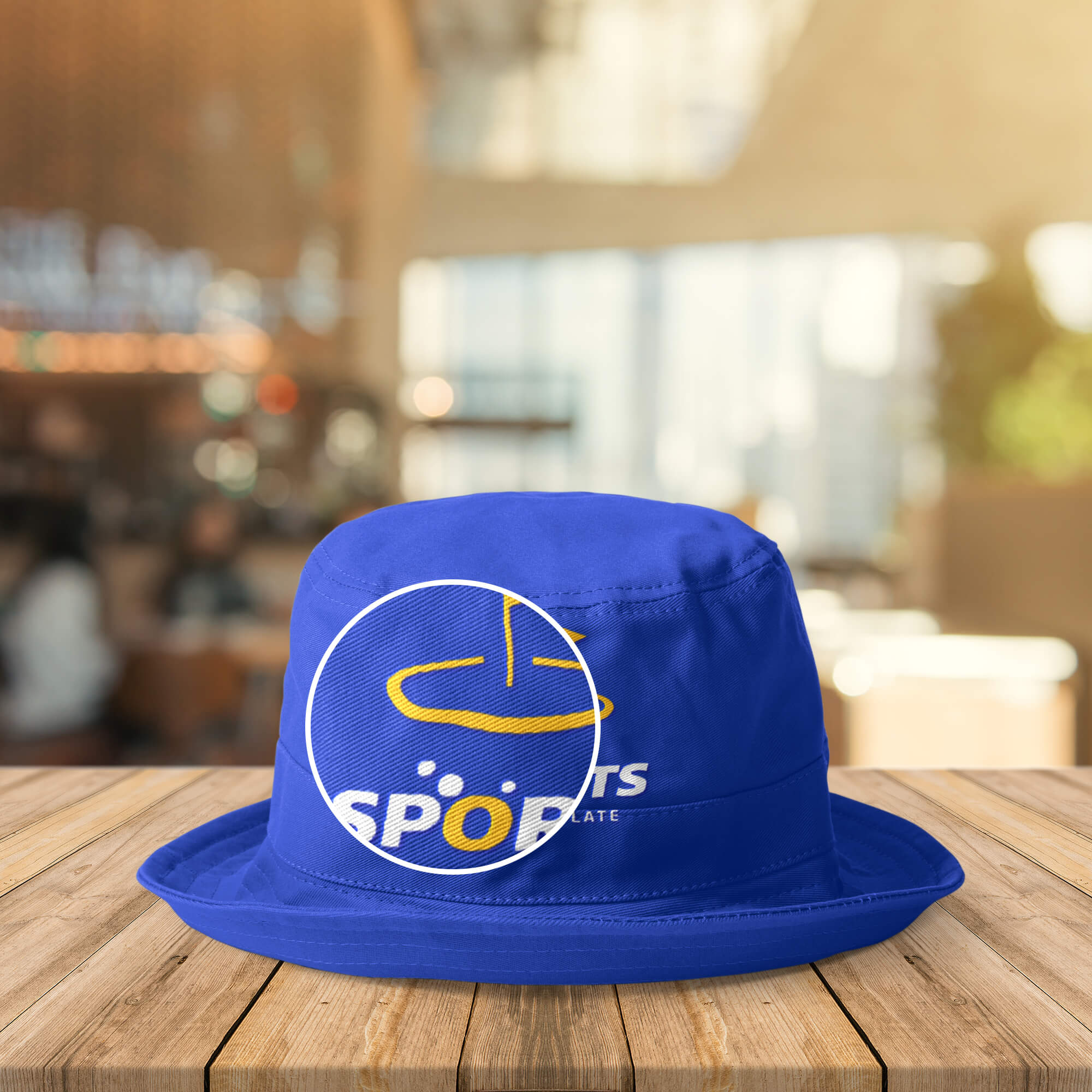 Close Up Of a Free Hat logo Mockup PSD Template