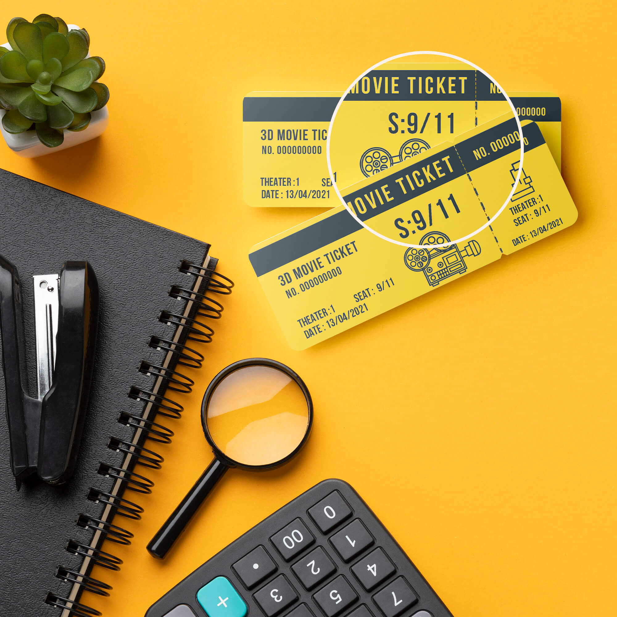Close Up Of a Free Movie Ticket Mockup PSD Template