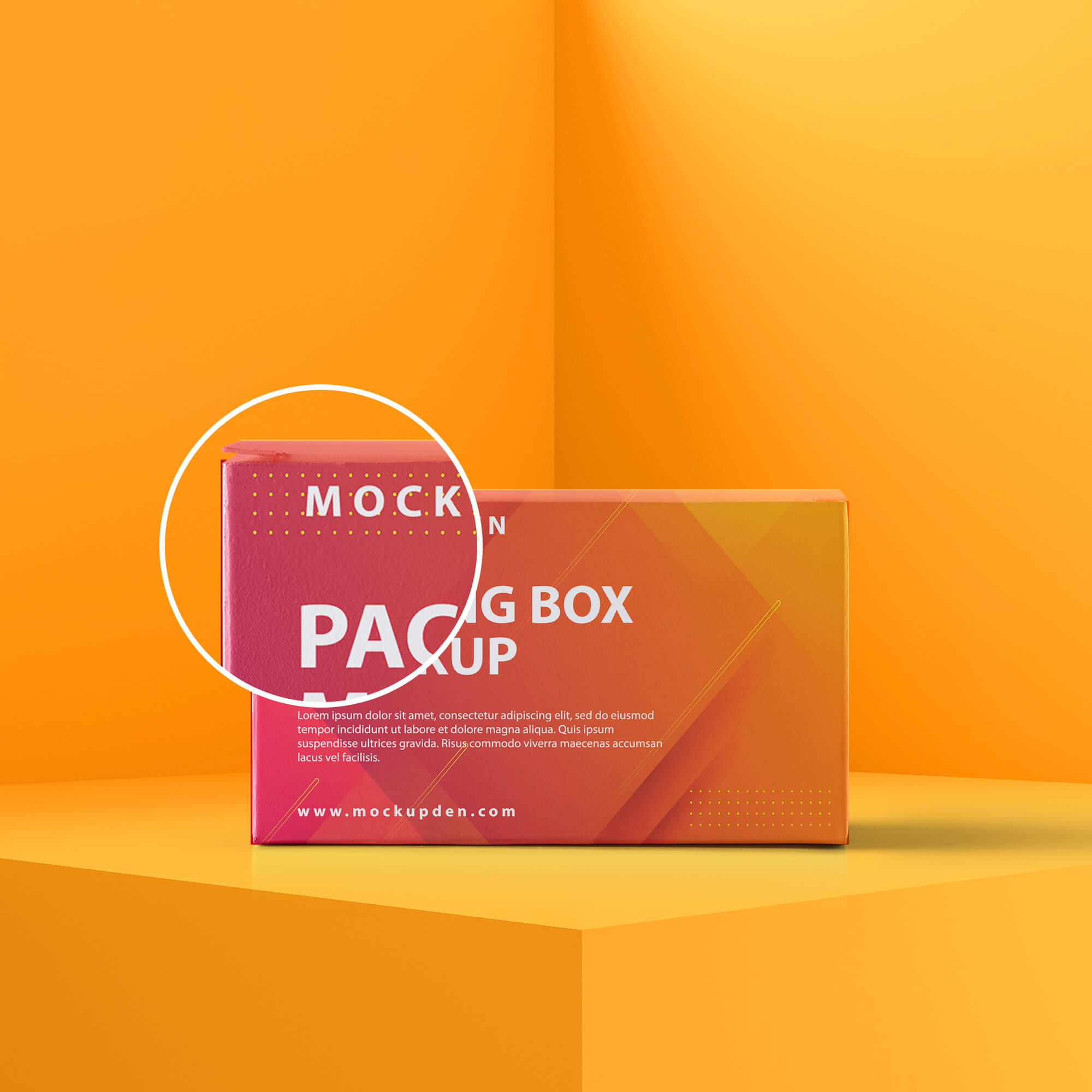 Close Up Of a Free Packing Box Mockup PSD Template