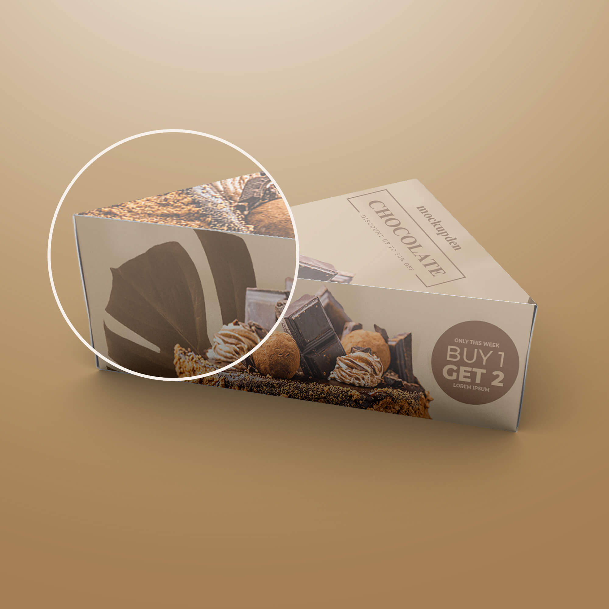 Close Up Of a Free Pastry Box Mockup PSD Template