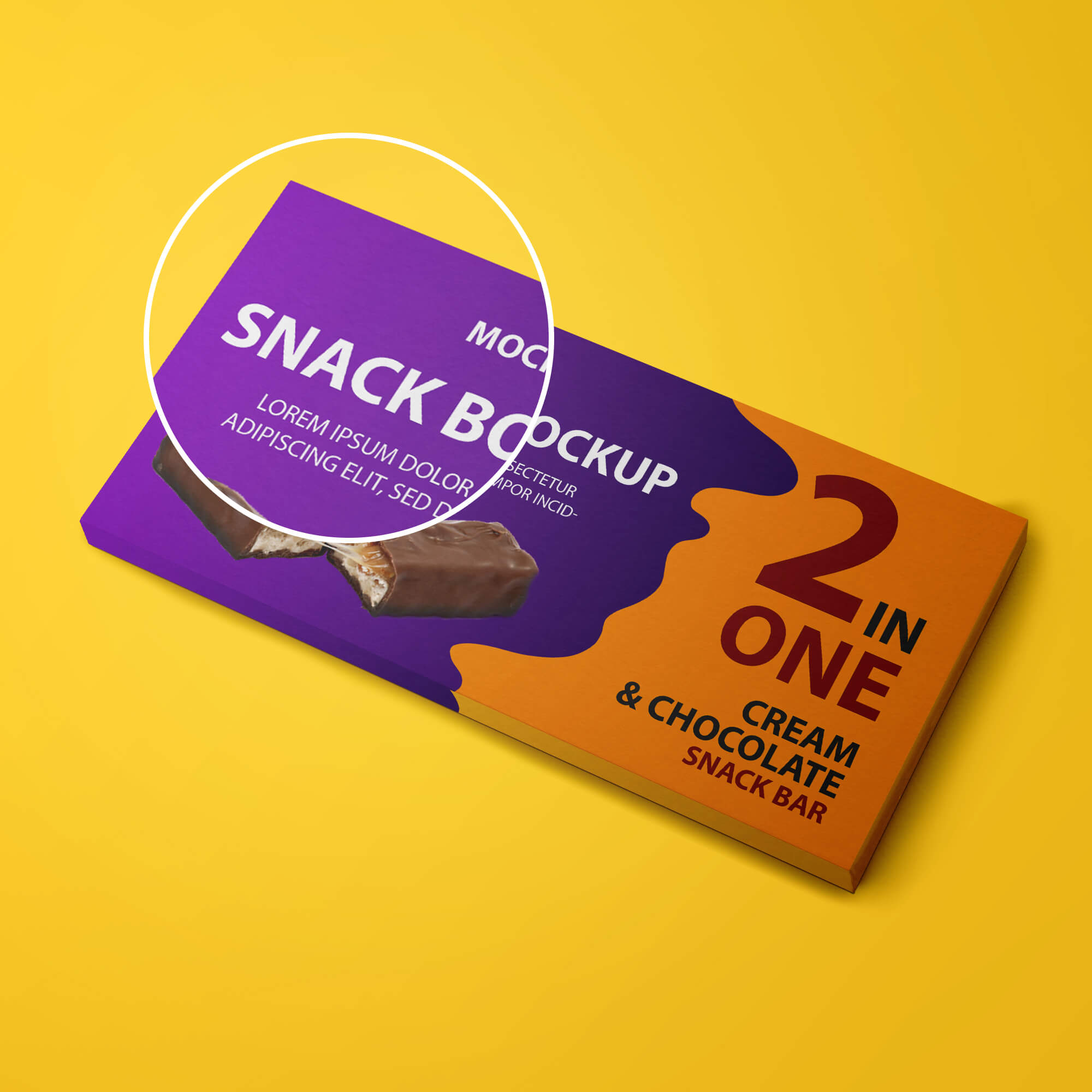 Close Up Of a Free Snack Box Mockup PSD Template