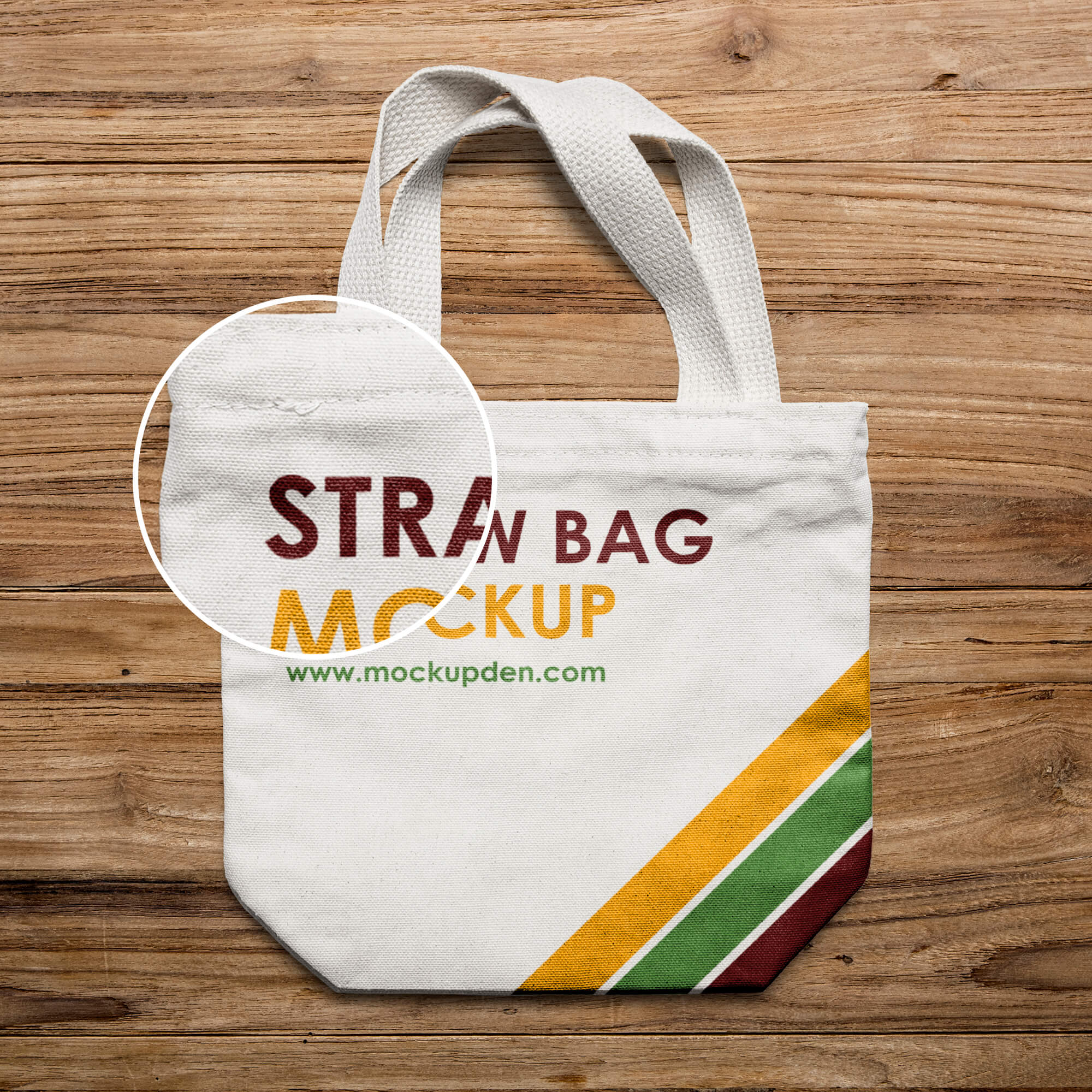 Close Up Of a Free Straw Bag Mockup PSD Template