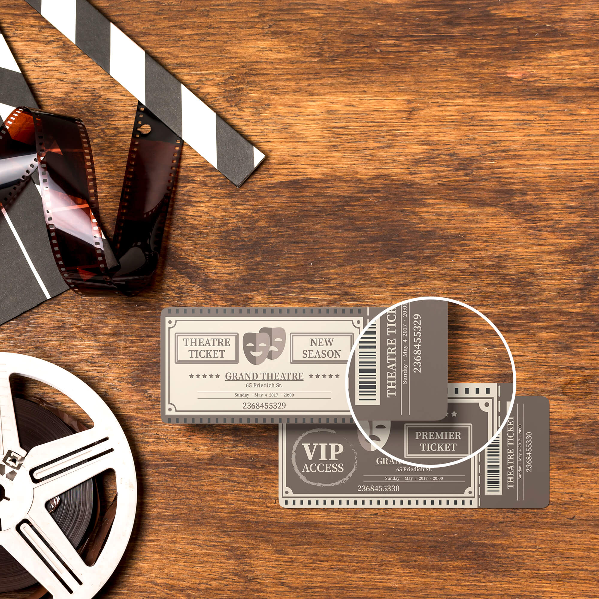 Close Up Of a Free Theatre Ticket Mockup PSD Template