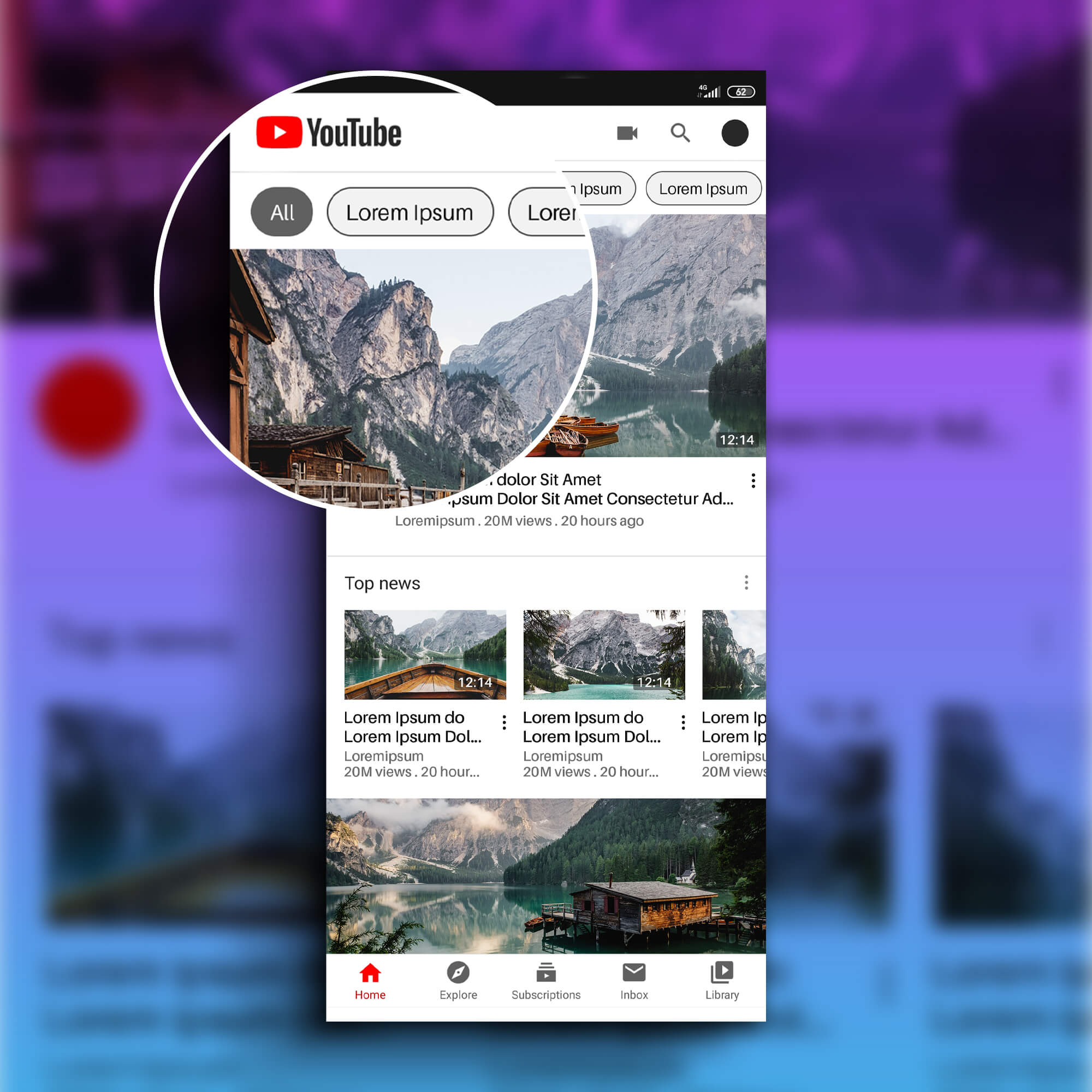 Close Up Of a Free YouTube App Mockup PSD Template