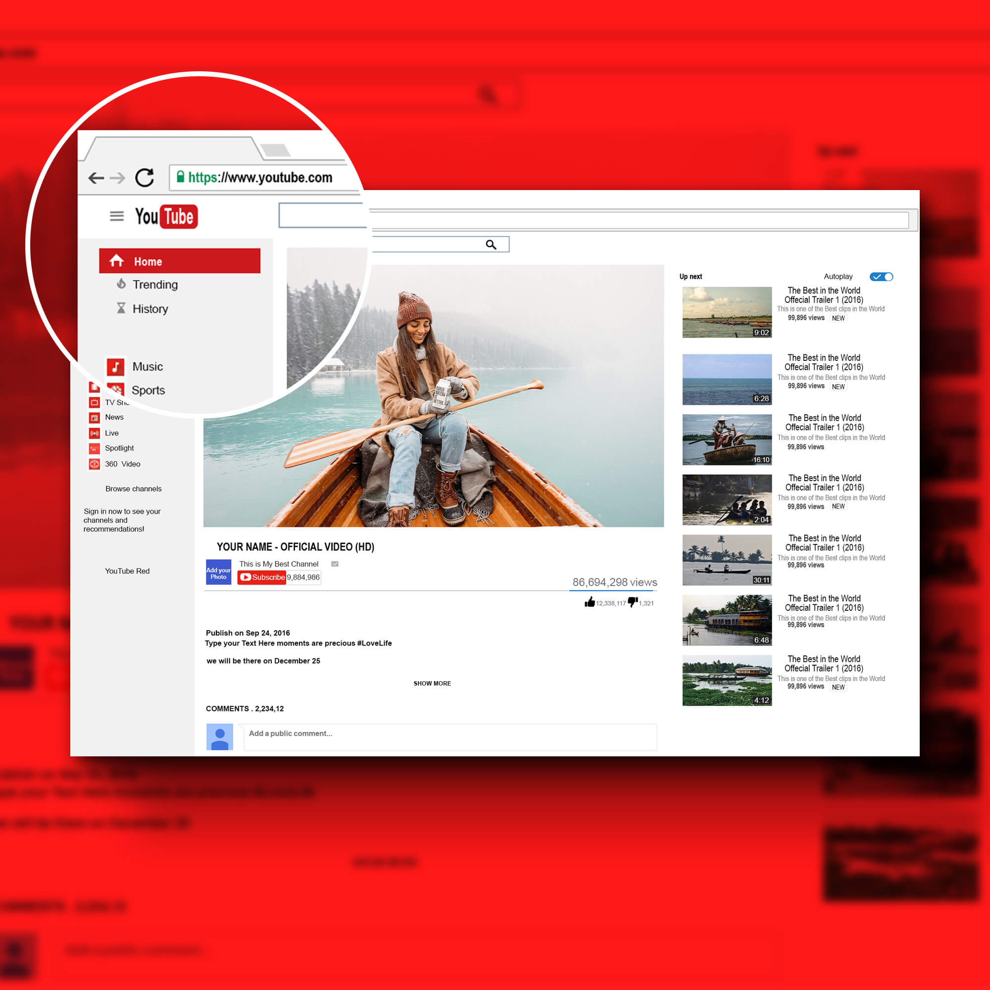 Close Up Of a Free YouTube Pre Roll Mockup PSD Template