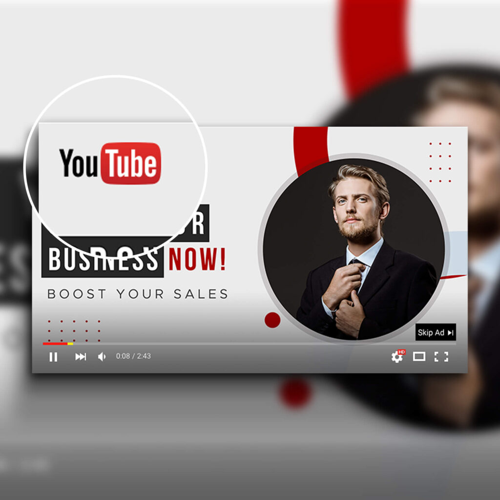 Close Up Of a Free YouTube Ad Mockup PSD Template