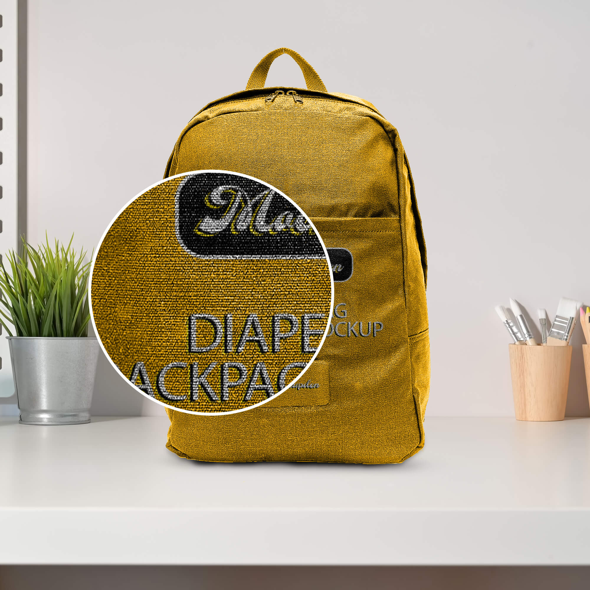 Close Up of a Free Diaper Bag Backpack Mockup PSD Template