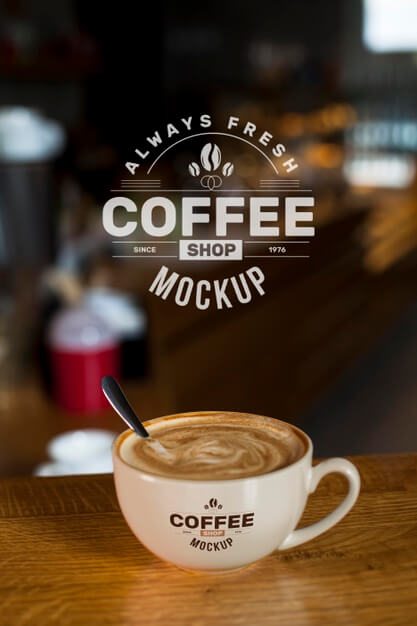 Coffee at shop mock-up Free Psd