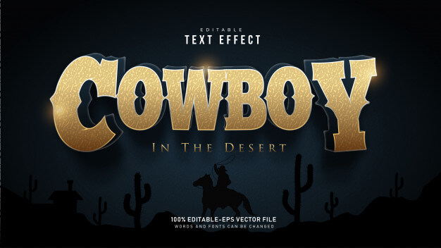 Cowboy text effect Free Vector