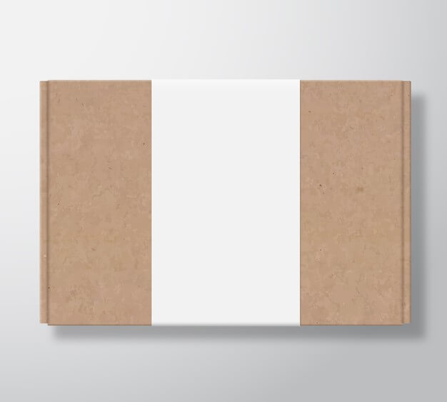 Craft cardboard box container with clear white label template. Free Vector