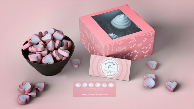 Cupcake packaging and branding mockup Free Psd (10)