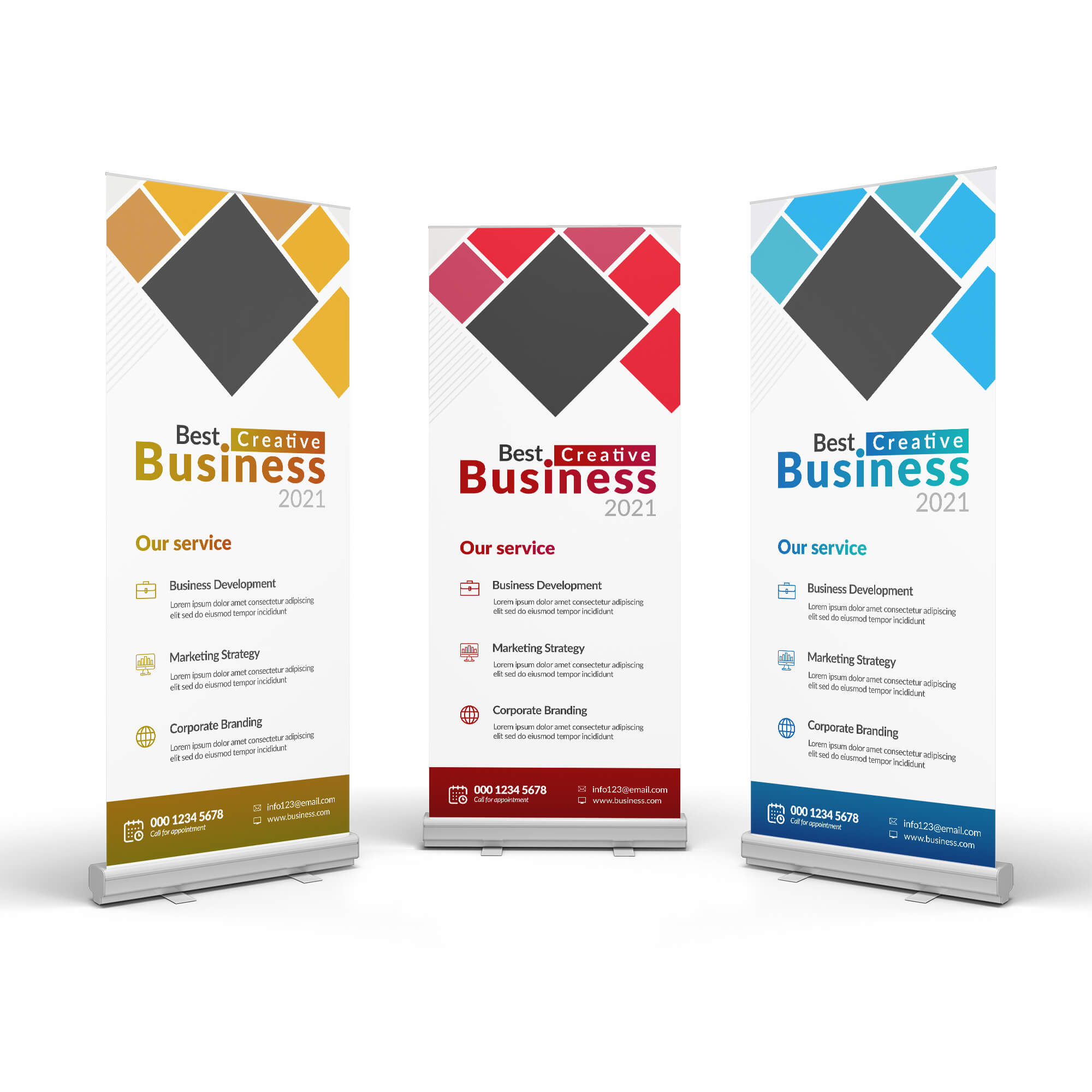 Design Free 3 Roll Up Banner Mockup PSD Template