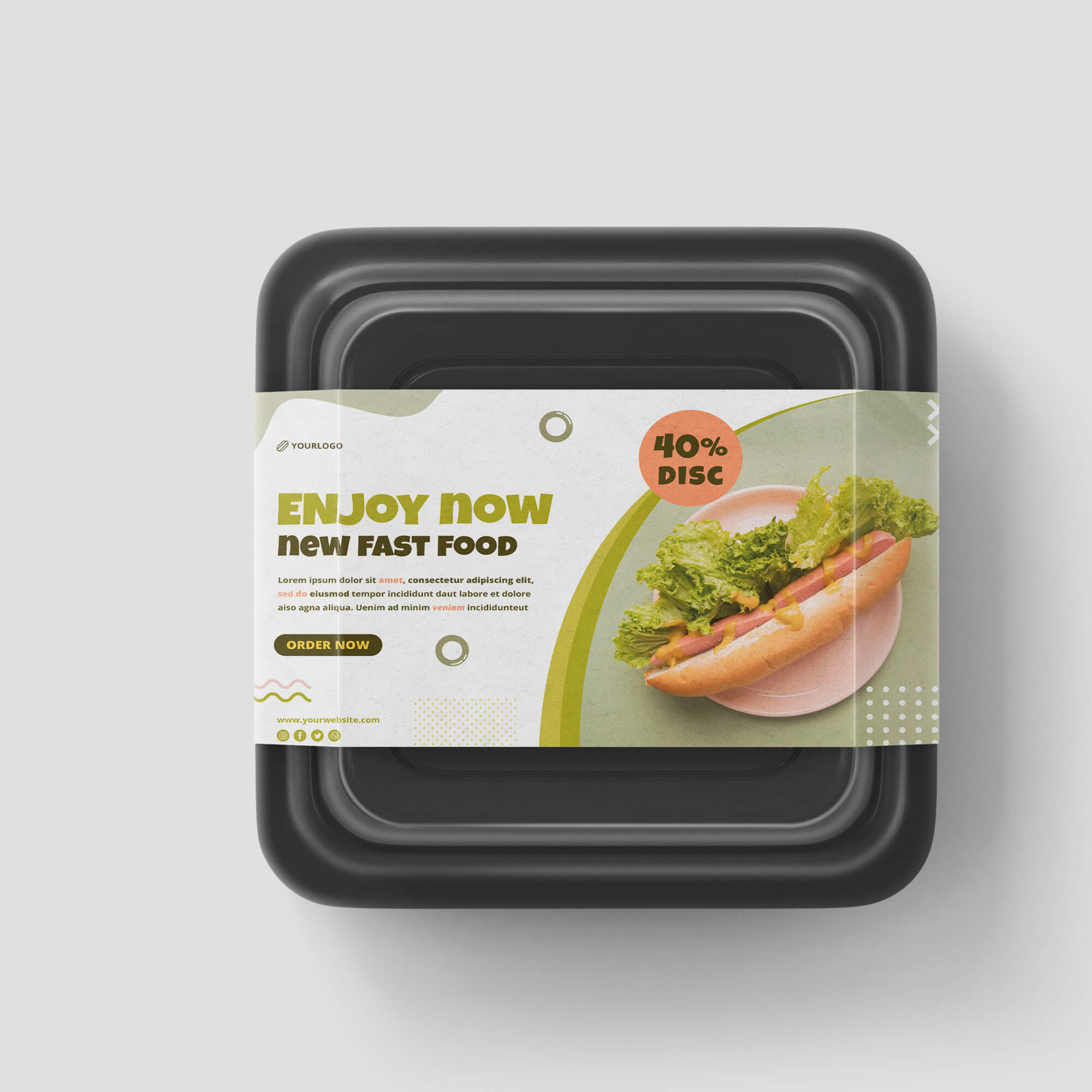 Design Free Food Container Mockup PSD Template