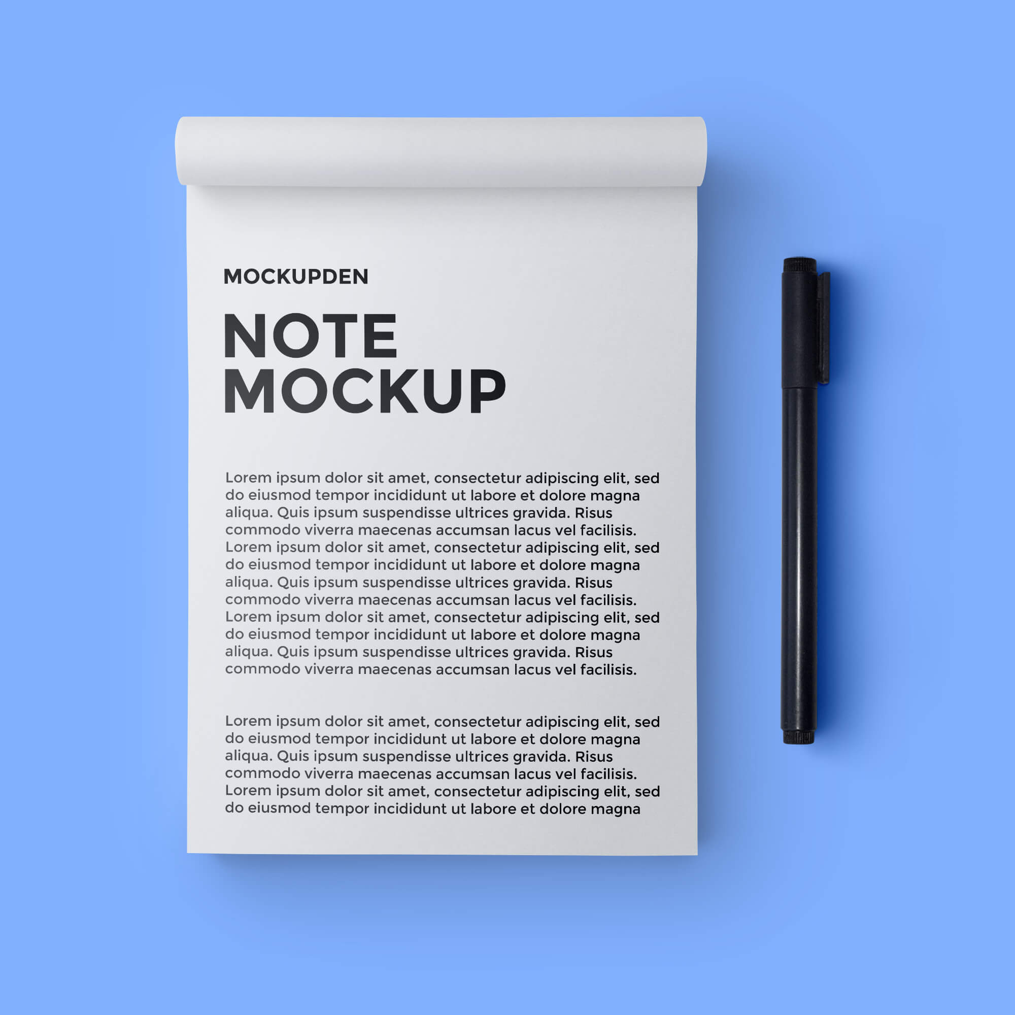 Design Free Note Mockup PSD Template