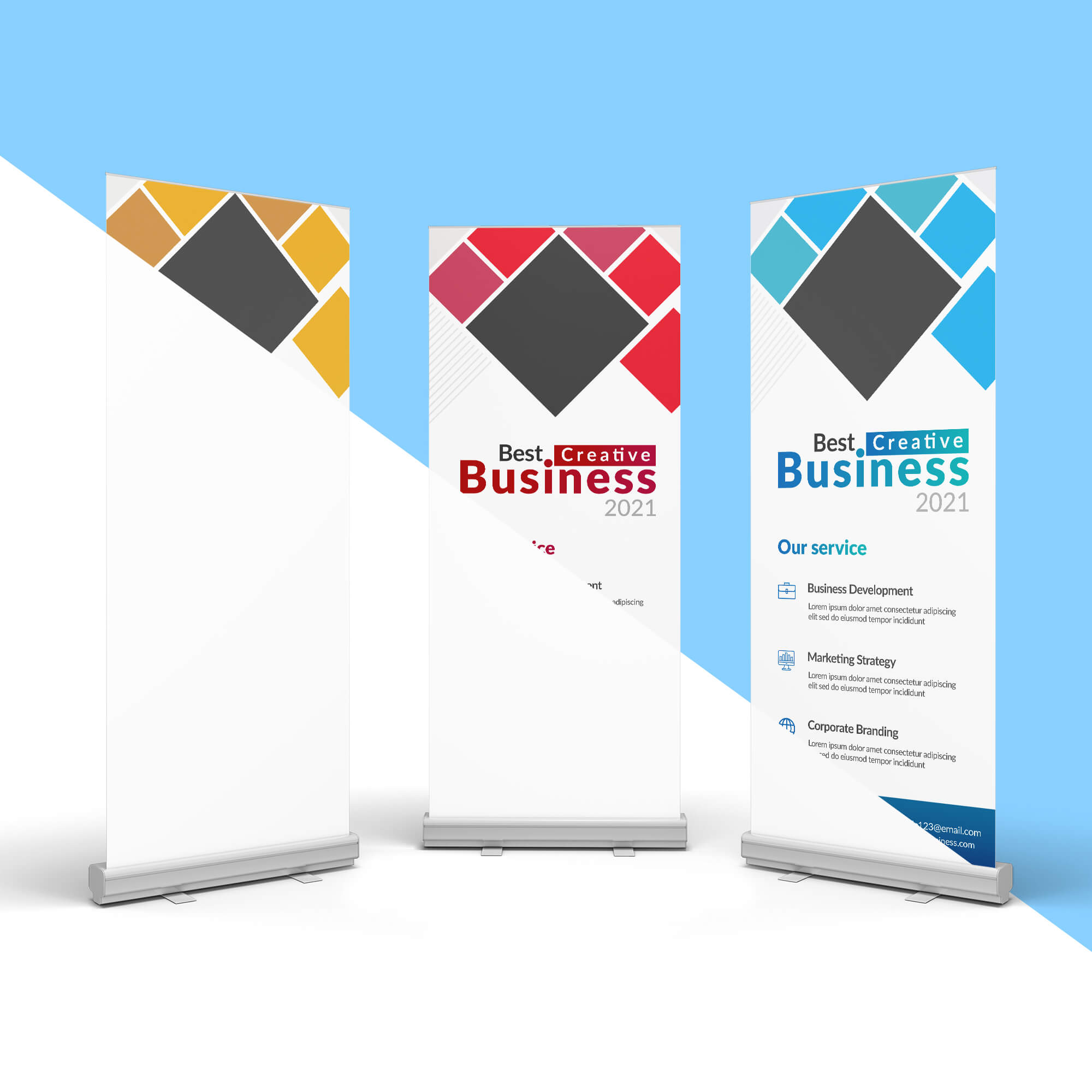 Editable Free 3 Roll Up Banner Mockup PSD Template