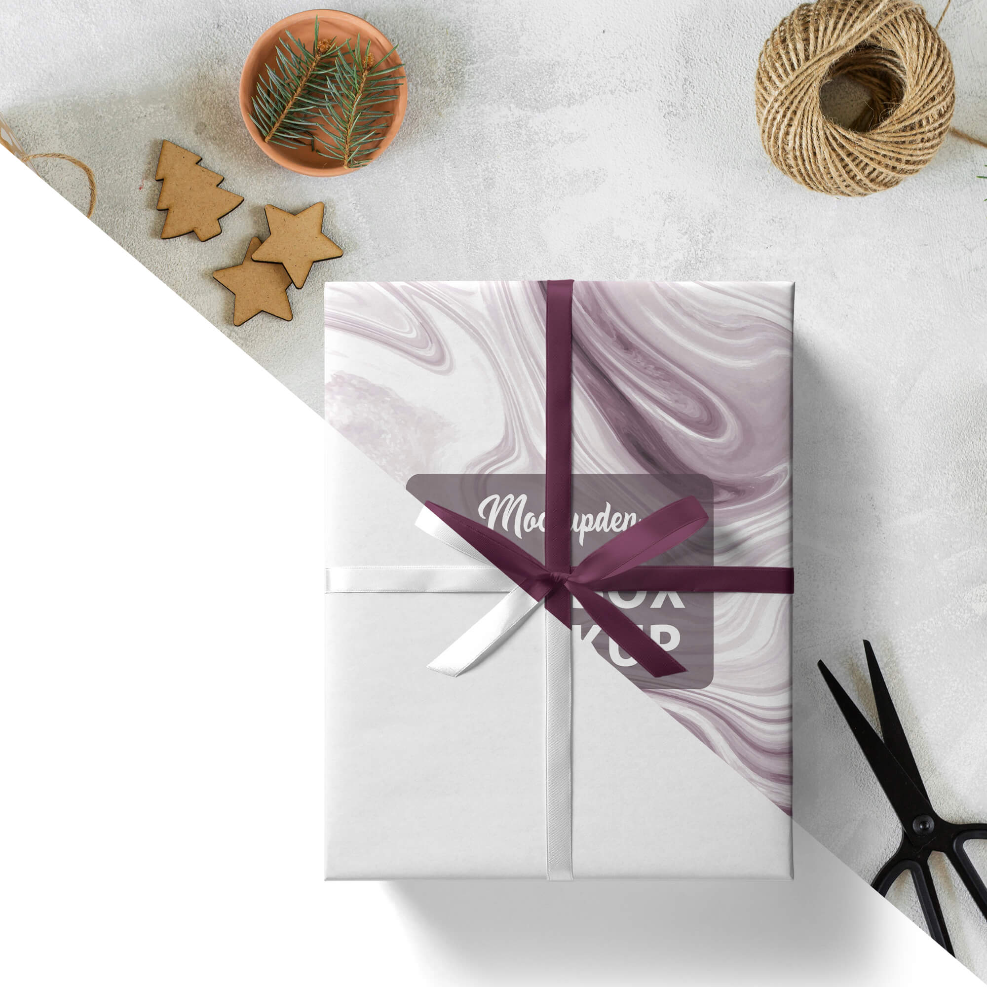 Editable Free Gift Box Mockup PSD Template