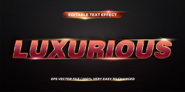 Editable text effect styles concept - red gold gradient color of luxurious words Premium Vector