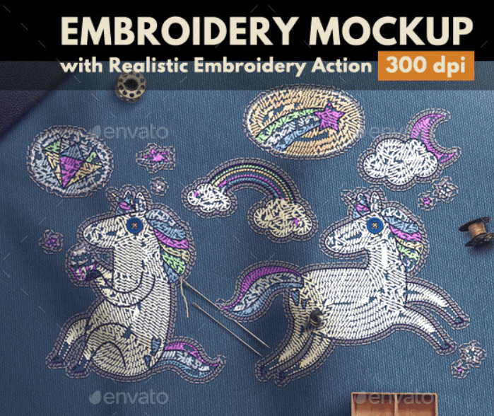 Embroidery Mockup with Embroidery Photoshop Action (2)