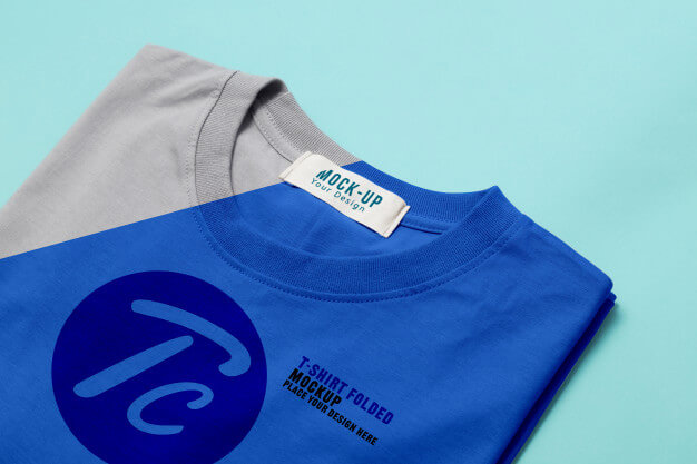 Folded t-shirts mockup template for your design on blue Premium Psd