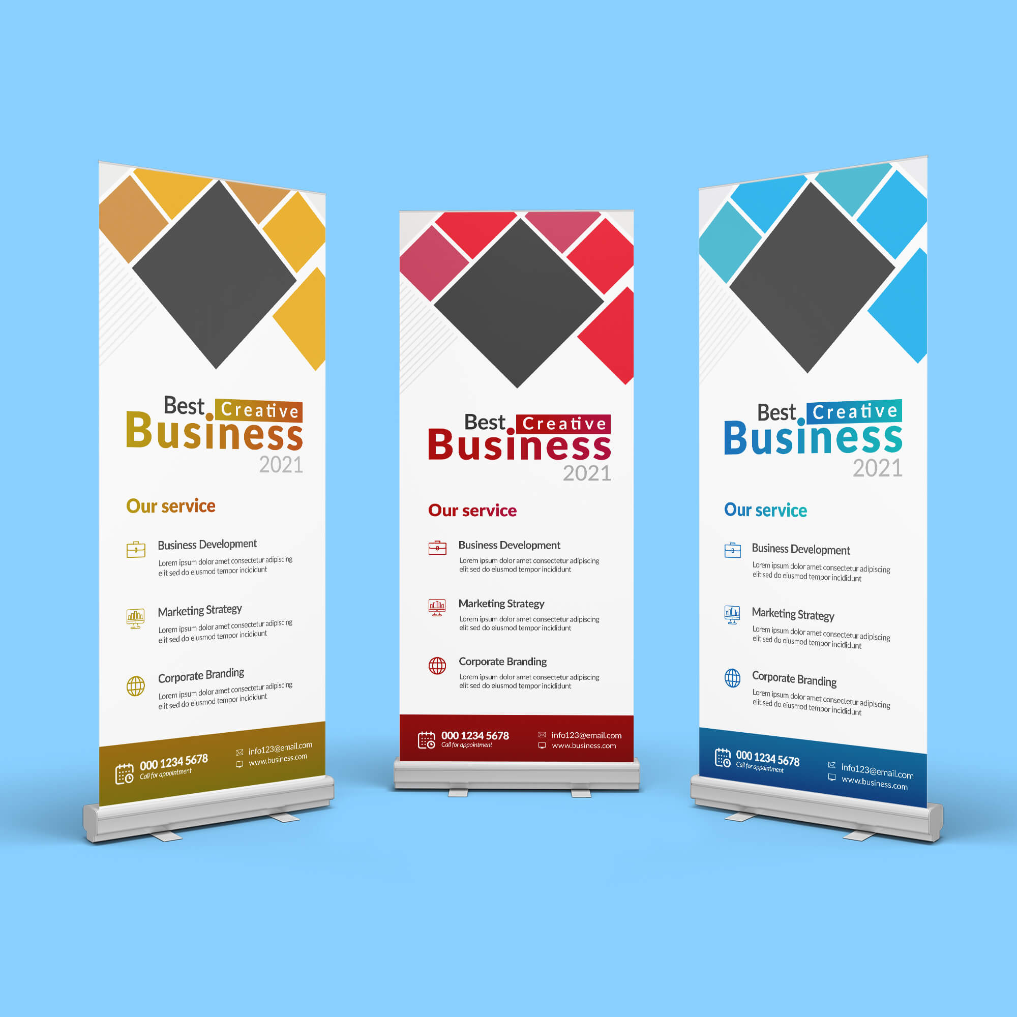 Free 3 Roll Up Banner Mockup PSD Template