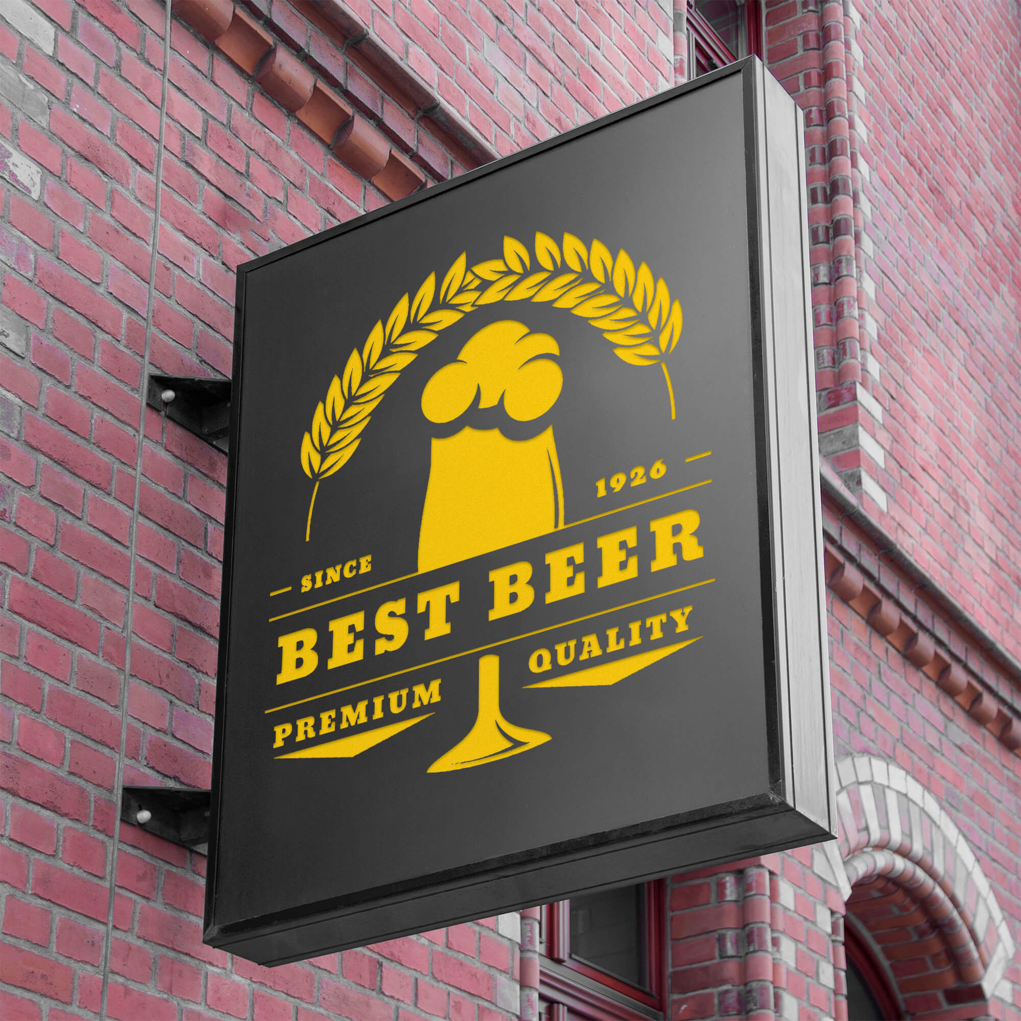 Free Bar Sign Mockup PSD Template