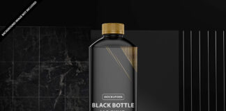 Free Black Bottle Mockup PSD Template
