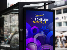 Free Bus Shelter Mockup PSD Template