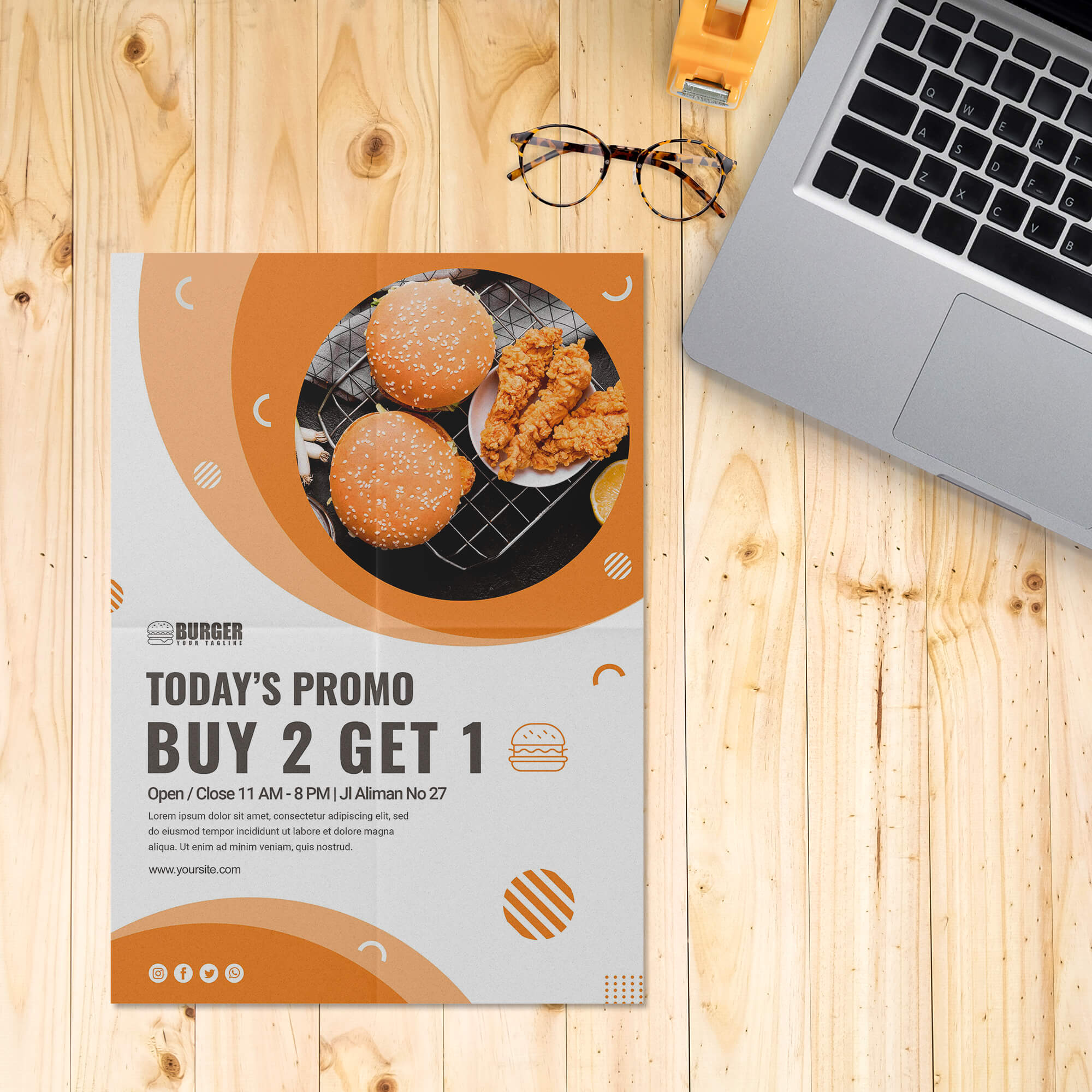 Folded Poster Free Mockup PSD Template