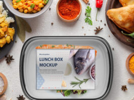 Free Lunch Box Mockup PSD Template