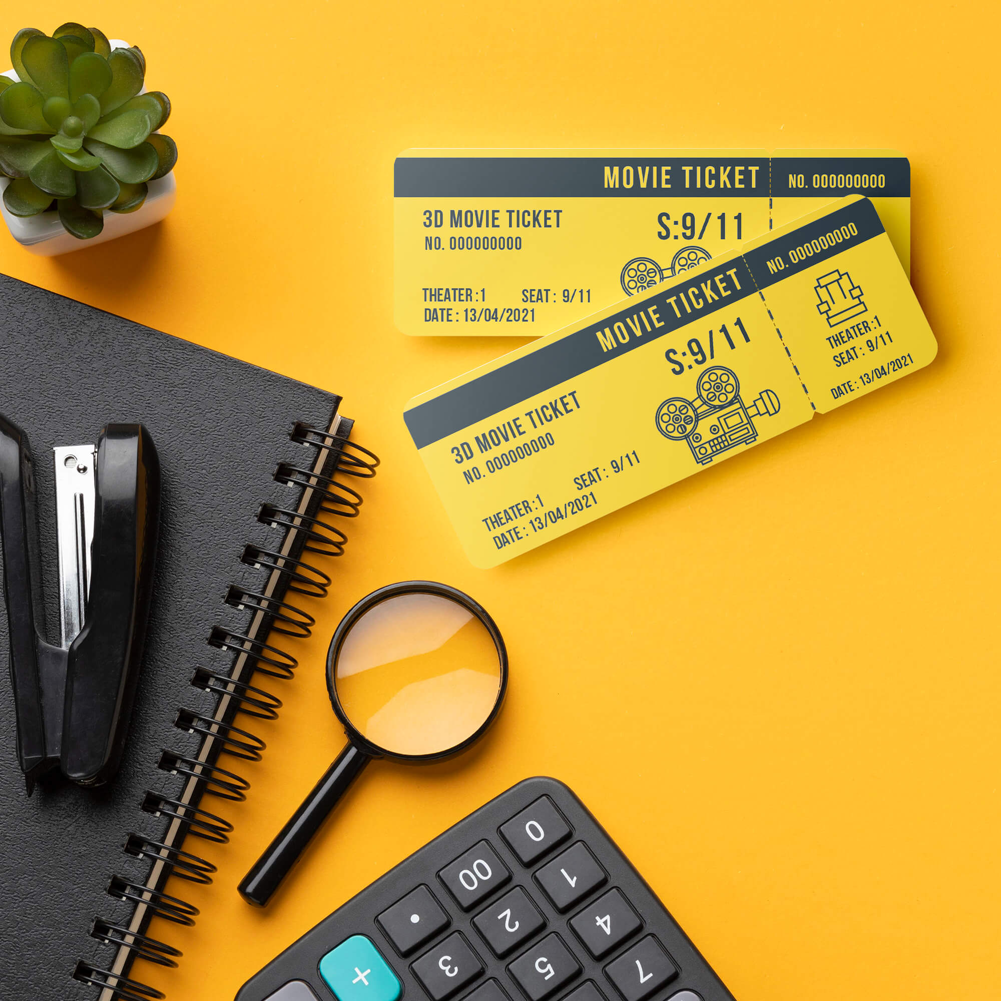 Free Movie Ticket Mockup PSD Template