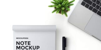 Free Note Mockup PSD Template