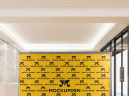 Free Step And Repeat Banner Mockup PSD Template