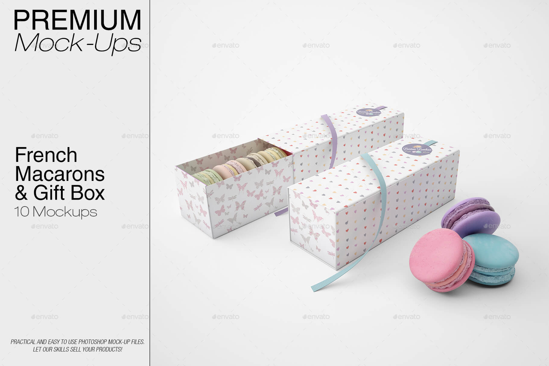 French Macarons & Gift Box Mockup Pack (1)