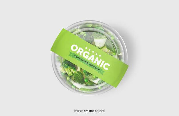 Green salad box mockup with paper cover label Premium Psd