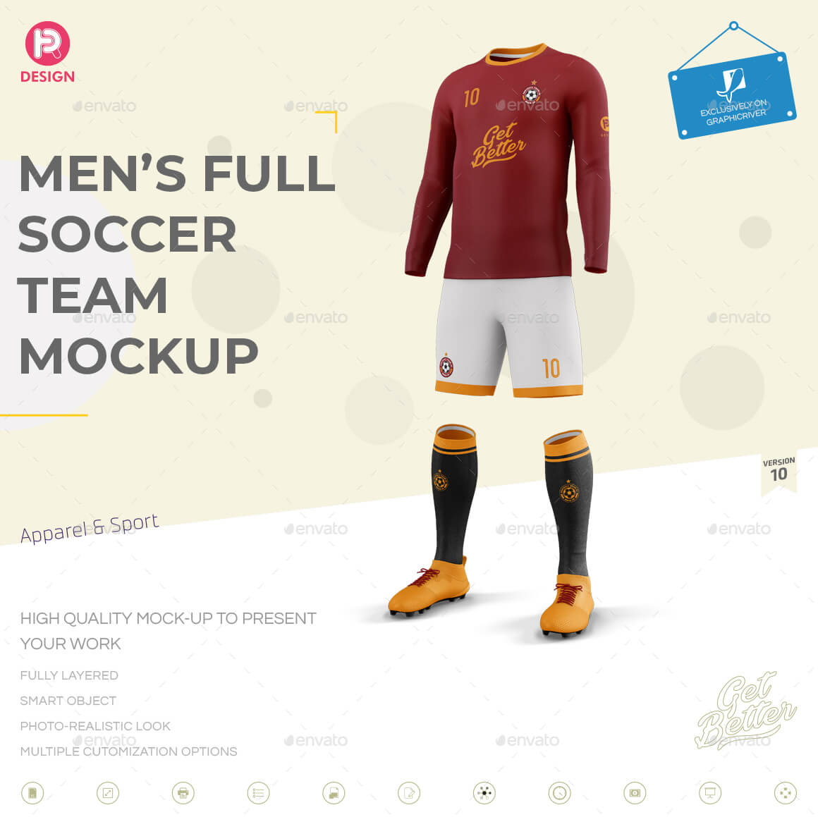 Men's Full Soccer Team Kit mockup V10