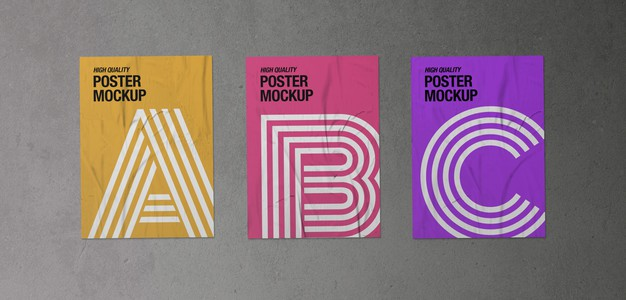 Pack of three crumpled posters mockup Free Psd