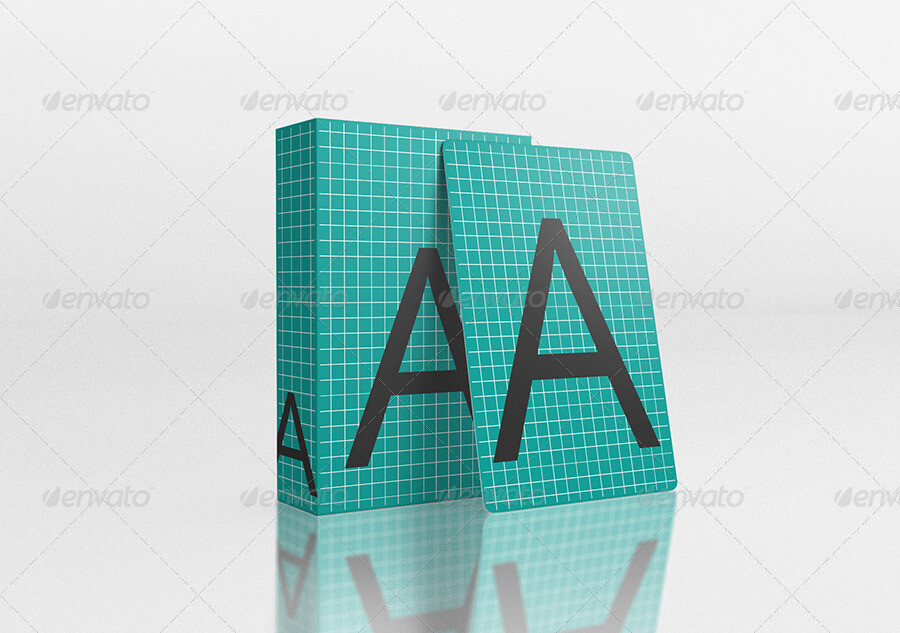 Playing Card with Box Mock-Up