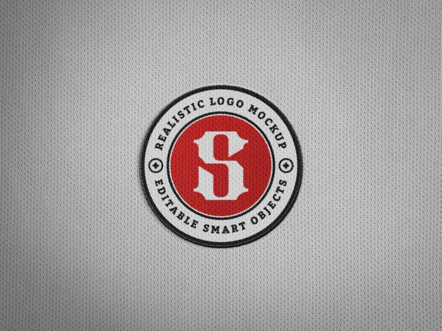 Realistic embroidery logo patch on jersey fabric Premium Psd