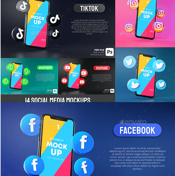 Social Media Icon Around Smartphone App Mockup 3D