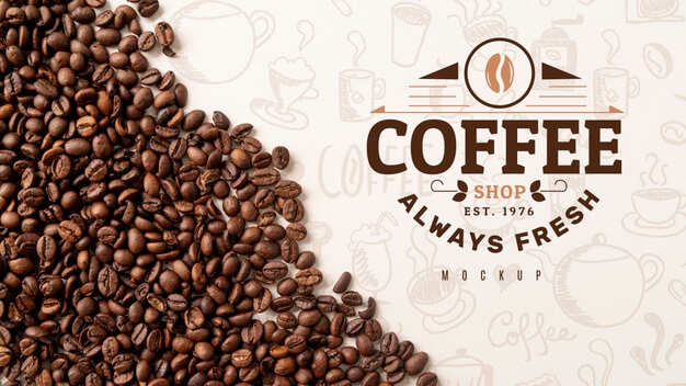 Top view coffee beans on desk Free Psd